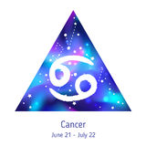 Zodiac sign Cancer over hipster triangle with space galactic. Starry texture inside. Night sky full of stars. Vector galaxy design for horoscope predictions Royalty Free Stock Image