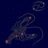Zodiac sign Cancer over starry sky Royalty Free Stock Photos