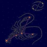 Zodiac sign Cancer over starry sky Royalty Free Stock Photos