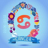 Zodiac sign CANCER, in sweet floral wreath. Horoscope sign, flowers, leaves and ribbon Royalty Free Stock Images