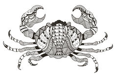 Zodiac sign - Cancer. Vector illustration. Crab. Zentangle styli stock illustration