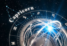 Zodiac Sign Capricorn And Armillary Sphere On Black Background. 3D Illustration Stock Photos