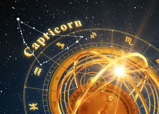 Zodiac Sign Capricorn And Armillary Sphere On Blue Background. 3D Illustration Stock Photo