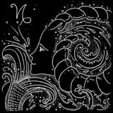 Zodiac sign Capricorn black and white drawing girl with a fish tail and goat horns in her hair. Figure drawn pen stock illustration