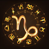 Zodiac sign Capricorn. In fire-show style on horoscope circle background. Circle with signs of zodiac and constellations.Vector illustration Stock Photo