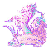Zodiac sign Capricorn. Pastel colors. Zodiac sign Capricorn. Fantastic sea creature with body of a goat and a fish tail Decorative frame of roses. Vintage art Stock Photo