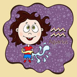 Zodiac sign cartoon Aquarius, astrological character, hand drawing. Painted funny aquarius in the frame in the form of an abstract Stock Image
