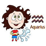 Zodiac sign cartoon Aquarius, astrological character. Painted funny aquarius with a symbol isolated on white background, vector dr Stock Image