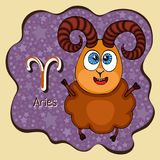 Zodiac sign cartoon Aries, astrological character, hand drawing. Painted funny aries in the frame in the form of an abstract purpl Royalty Free Stock Photos