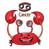 Zodiac sign cartoon Cancer, astrological character. Painted funny cancer with a symbol isolated on white background, vector drawin Stock Photo