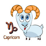 Zodiac sign cartoon Capricorn, astrological character. Painted funny capricorn with a symbol isolated on white background, vector Royalty Free Stock Images