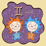 Zodiac sign cartoon Gemini, astrological character, hand drawing. Painted funny gemini in the frame in the form of an abstract pur Stock Photo
