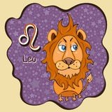 Zodiac sign cartoon Leo, astrological character, hand drawing. Painted funny leo in the frame in the form of an abstract purple in Royalty Free Stock Image