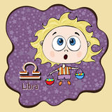 Zodiac sign cartoon Libra, astrological character, hand drawing. Painted funny libra in the frame in the form of an abstract purpl Royalty Free Stock Photos