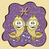 Zodiac sign cartoon Pisces, astrological character, hand drawing. Painted funny pisces in the frame in the form of an abstract pur Stock Photo