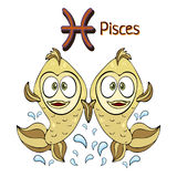 Zodiac sign cartoon Pisces, astrological character. Painted funny pisces with a symbol isolated on white background, vector drawin Royalty Free Stock Photography
