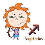 Zodiac sign cartoon Sagittarius, astrological character. Painted funny sagittarius with a symbol isolated on white background, vec Stock Photography