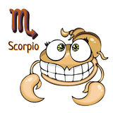 Zodiac sign cartoon Scorpio, astrological character. Painted funny scorpio with a symbol isolated on white background, vector draw Royalty Free Stock Photo