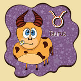 Zodiac sign cartoon Taurus, astrological character, hand drawing. Painted funny taurus in the frame in the form of an abstract pur Royalty Free Stock Photography