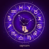 Zodiac sign and constellation CAPRICORN with Horoscope circle and sacred symbols on the starry night sky background with geometry. Pattern. Vector illustrations royalty free illustration