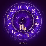Zodiac sign and constellation SCORPIO with Horoscope circle and sacred symbols on the starry night sky background with geometry pa. Ttern. Vector illustrations stock illustration