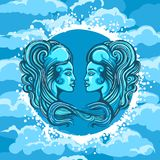 Zodiac Sign of Gemini in Air Circle. Two Woman Faces in Air Circle. Zodiac symbol of Gemini on Air background. Vector illustration Royalty Free Stock Image