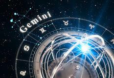 Zodiac Sign Gemini And Armillary Sphere On Black Background. 3D Illustration Royalty Free Stock Photography