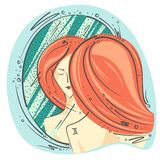 Zodiac sign Gemini color drawing girl at the mirror reflection. Vector graphics vector illustration