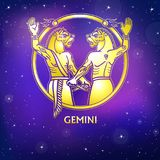 Zodiac sign Gemini. Character of Sumerian mythology. Gold imitation. Vector illustration. Background - the night star sky.Print, potser, t-shirt, card stock illustration
