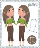 Zodiac sign Gemini. Funny cartoon character. Stock Photos