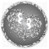 Zodiac sign Gemini. This illustration can be used as a greeting card or as a print on T-shirts and bags, tattoo art, coloring books. Decorative Henna Mehndi royalty free stock photo