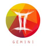 Zodiac signs-03. Zodiac sign Gemini isolated on bright polygonal background. Design element for badges and stickers stock illustration