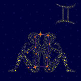Zodiac sign Gemini over starry sky Stock Image