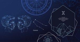 Zodiac sign Gemini. The symbol of the astrological horoscope. Horizontal banner. vector illustration