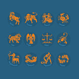 Zodiac sign icon set Royalty Free Stock Images