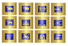 Zodiac sign icons. A complete version of 12 signs of the zodiac stock illustration