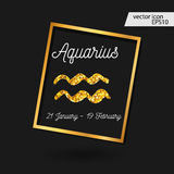 Zodiac sign  illustration. Gold Aquarius icon Royalty Free Stock Image