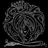Zodiac sign Leo black and white drawing a girl with hair like a lion`s mane. Figure drawn pen royalty free illustration