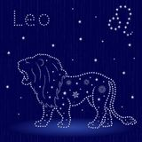 Zodiac sign Leo with snowflakes. Zodiac sign Leo on a blue starry sky, hand drawn vector illustration in winter motif with stylized stars and snowflakes over Stock Images
