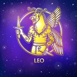 Zodiac sign Leo. Character of Sumerian mythology. Gold imitation. Vector illustration. Background - the night star sky.Print, potser, t-shirt, card royalty free illustration