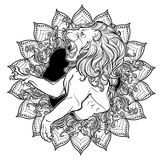 Zodiac sign of Leo with a decorative frame of sun flares and sunflower petals. Astrology concept art. Tattoo design. Black linear drawing isolated on white Royalty Free Stock Images