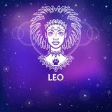 Zodiac sign Leo. Fantastic princess, animation portrait. White drawing, background - the night stellar sky. Stock Image