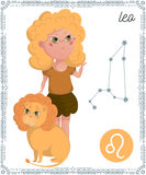 Zodiac sign Leo. Funny cartoon character. Royalty Free Stock Image