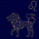 Zodiac sign Leo over starry sky Stock Photo