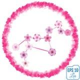 Zodiac sign Leo. Sakura concept. Flowers concept. Constellation. Leo. Vector Stock Image