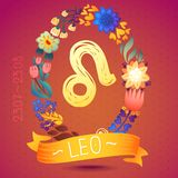 Zodiac sign LEO, in sweet floral wreath. Horoscope sign, flowers, leaves and ribbon Royalty Free Stock Images