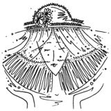 Zodiac sign Libra black and white drawing girl in a hat in the form of the zodiac sign Libra. /Figure drawn pen vector illustration