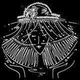 Zodiac sign Libra black and white drawing girl in a hat in the form of the zodiac sign Libra. Figure drawn pen royalty free illustration