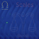 Zodiac sign Libra contour on the starry sky. Zodiac sign Libra contour with tiny stars on the background of blue wavy starry sky, vector illustration Royalty Free Stock Photos