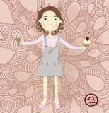 Zodiac sign libra. Cute little girl wants to eat i. Ce cream instead of cupcake royalty free illustration
